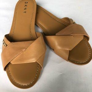 DKNY Camel Leather Slides   Size 8.5